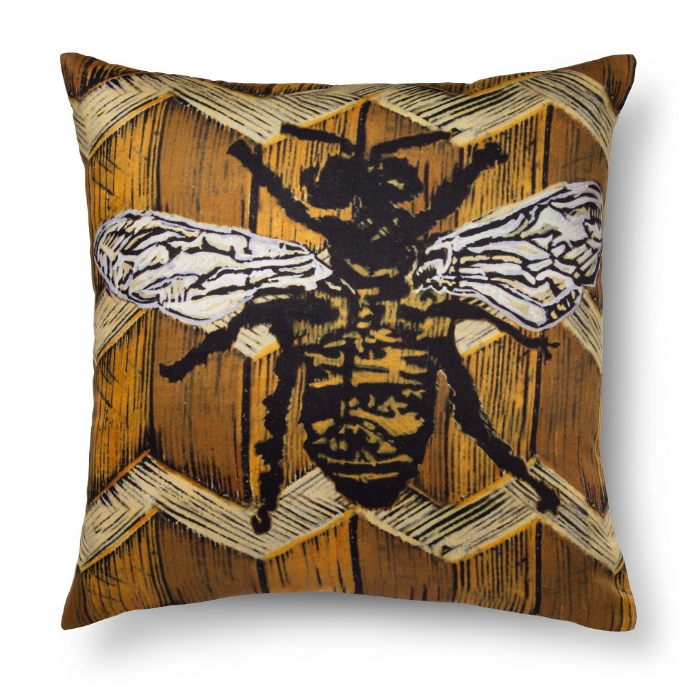 "Image of ""Artwork Series: 'Blessed Bee' by Wes & Joan Yeoman Throw Pillow (18""""x18"""") - AiR"""
