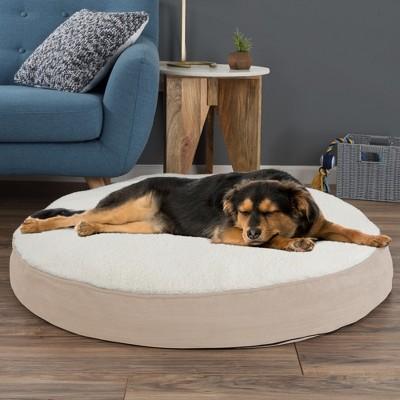 Petmaker Memory Foam Pillow Top Reversible Cats and Dogs Bed - Tan