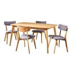 Alma 5pc Mid-Century Dining Set - Gray - Christopher Knight Home