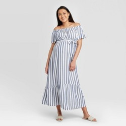 Striped Short Sleeve Woven Maternity Dress - Isabel Maternity by Ingrid & Isabel™ Blue/White