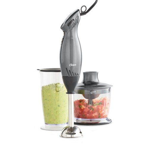 Oster 2-Speed Immersion Hand Blender with Food Chopper Attachment -  Metallic Gray