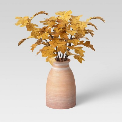 """14"""" x 15"""" Artificial Gold Oak Leaf Arrangement in Ceramic Pot - Threshold™"""