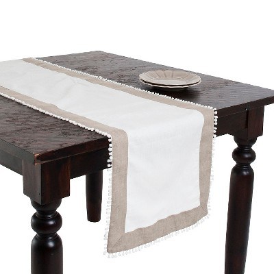 Two Tone Runner with Knotted Border Ivory (16 x72 )