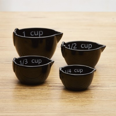 Lakeside Purr-Fect Measuring Cups - Earthenware Cat-Themed Set of 4