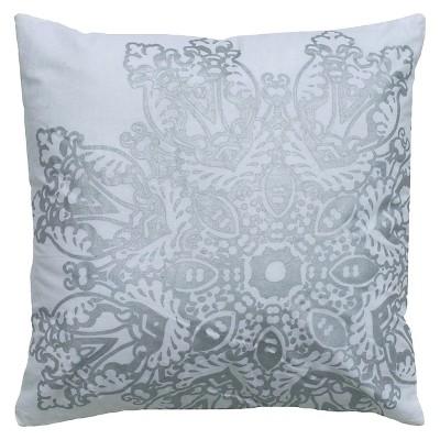Silver Medallion Textured Throw Pillow 18 x18  - Rizzy Home®