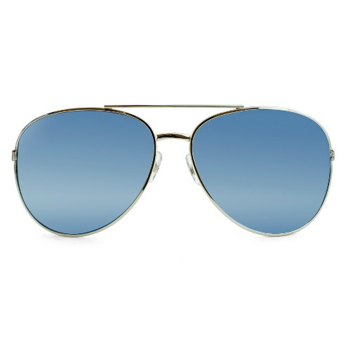 Women's Oversized Aviator Sunglasses with Blue Mirrored Lenses - Wild Fable™ Silver - image 1 of 3