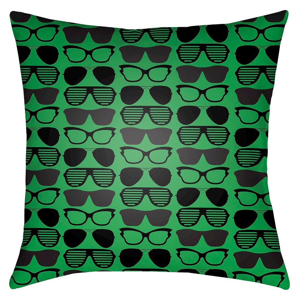 Green Sunglasses Print Throw Pillow 18