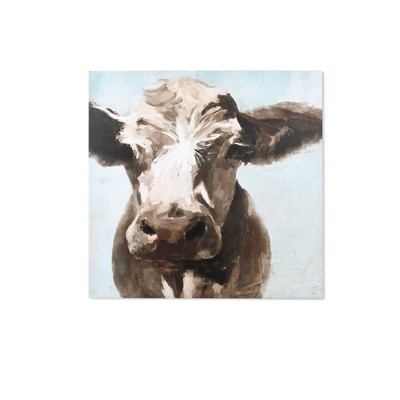"30"" x 30"" Cow Close Up Stretched Unframed Canvas Brown - New View"