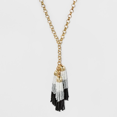 Cascading Beaded Tassel Necklace - A New Day™ - image 1 of 2
