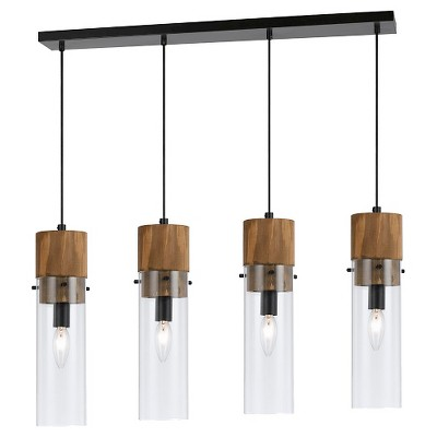 Cal Lighting Spheroid Glass & Wood 4 light Chandelier