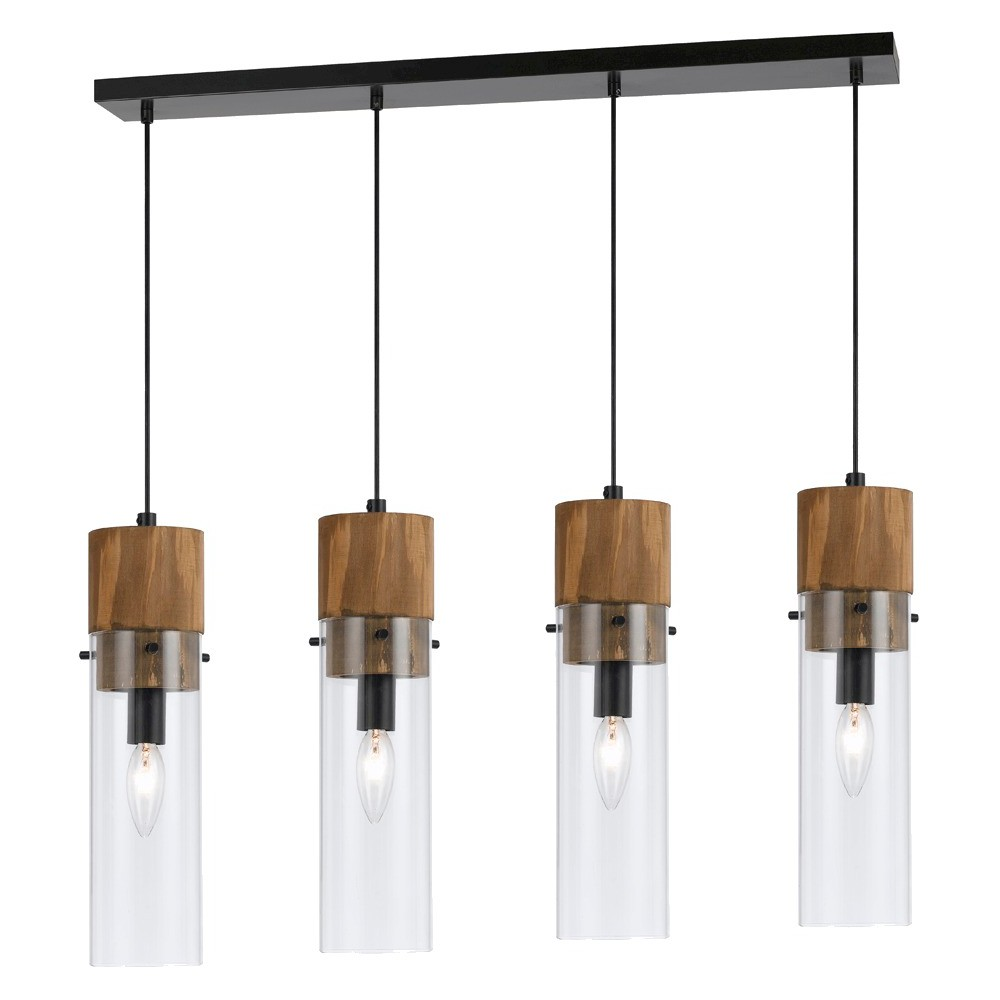 Cal Lighting Spheroid Glass & Wood 4 light Chandelier, Black