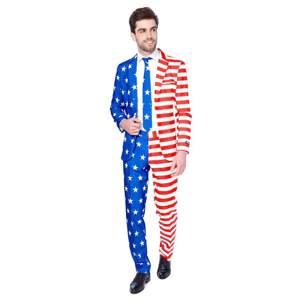 Image of Fourth of July USA Flag Suit, Men's, Size: XL
