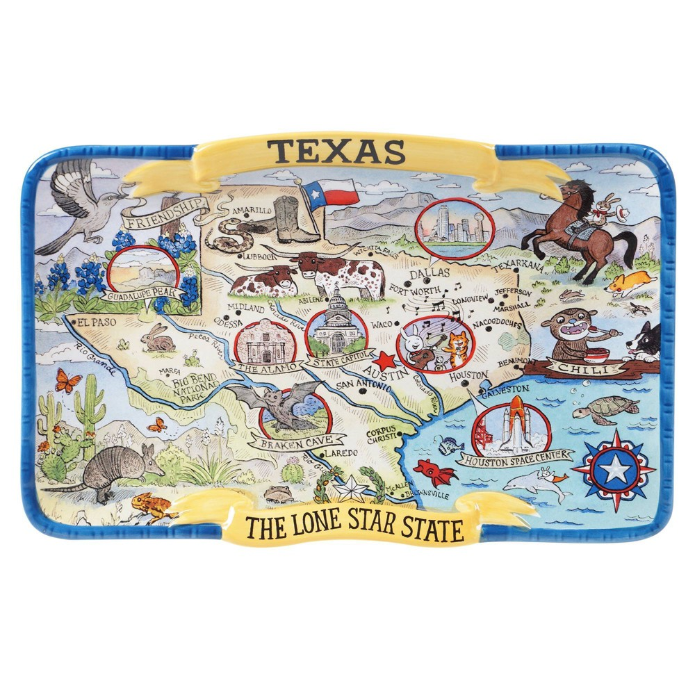 13 34 X 8 34 Earthenware Texas State Souvenir Serving Platter Certified International