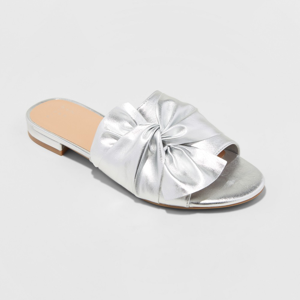 Women's Huntress Metallic Knotted Slide Sandals - A New Day Silver 5