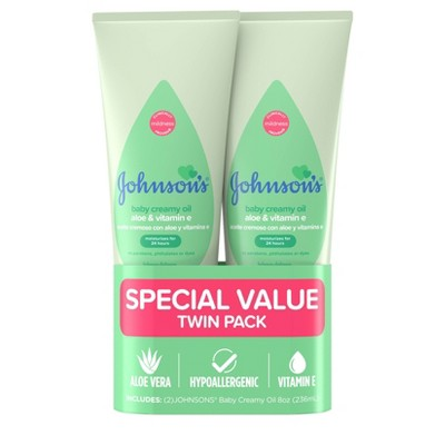 Johnson's Creamy Aloe Oil Twin Pack - 236ml