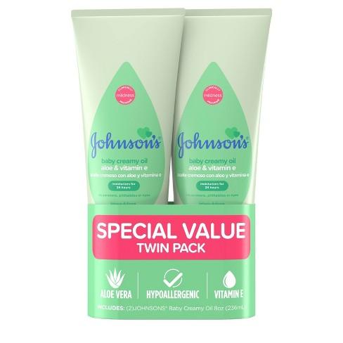 Johnson's Creamy Aloe Oil Twin Pack - 236ml - image 1 of 4