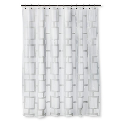 Grid Shower Curtain White - Room Essentials™