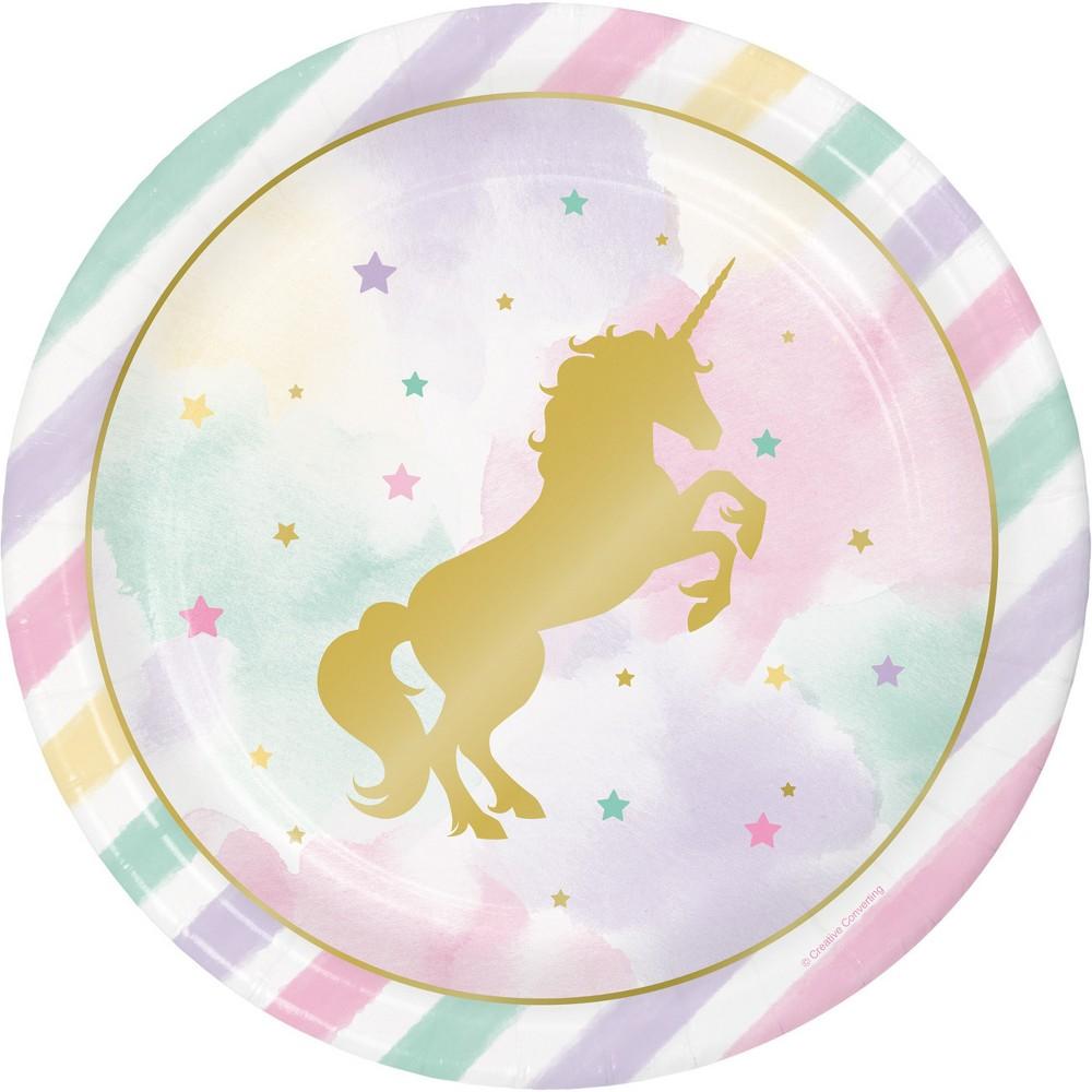 Sparkle Unicorn 9 Paper Plates - 8ct
