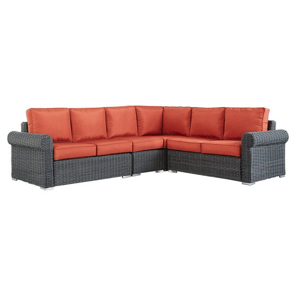Riviera Pointe Wicker Patio 6 - Seat Round Arm Sectional with Cushions - Charcoal/Red - Inspire Q