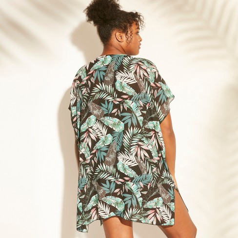 63cd9db7e5 Women's Tie Front Kimono Cover Up - Cover 2 Cover Black Palm : Target