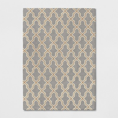 5'X7' Trellis Elevated Fretwork Tufted Area Rug Tan/Gray - Threshold™