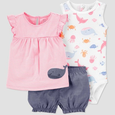 Baby Girls' Whale Striped Top & Bottom Set - Just One You® made by carter's Pink