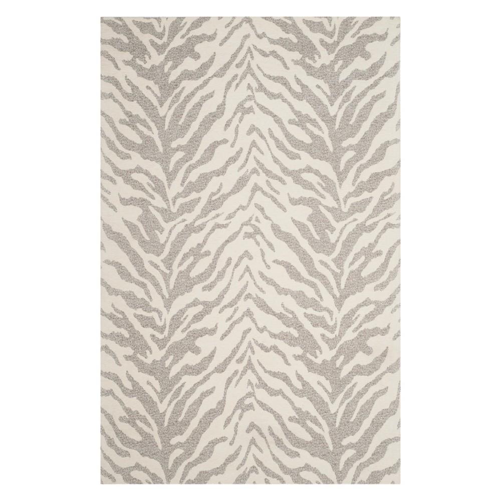 3'X5' Animal Print Accent Rug Light Gray/Ivory - Safavieh