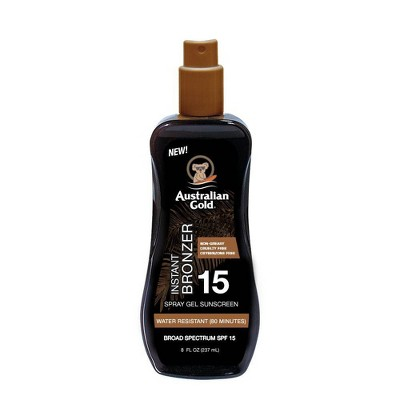 Australian Gold Sunscreen Spray Gel with Instant Bronzer - SPF 15 - 8 fl oz