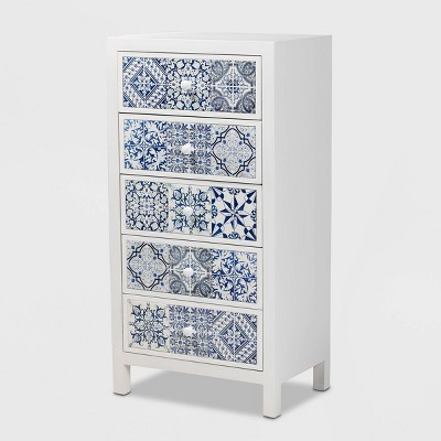 5 Drawer Alma Wood Accent Chest White/Blue - Baxton Studio