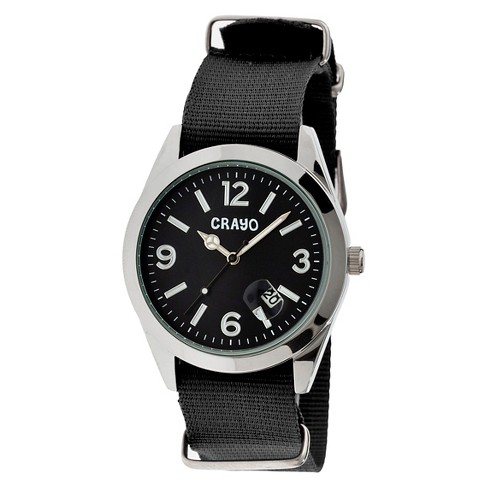 Women's Crayo Sunrise Watch with Nylon Strap and Luminous hands - Black - image 1 of 3