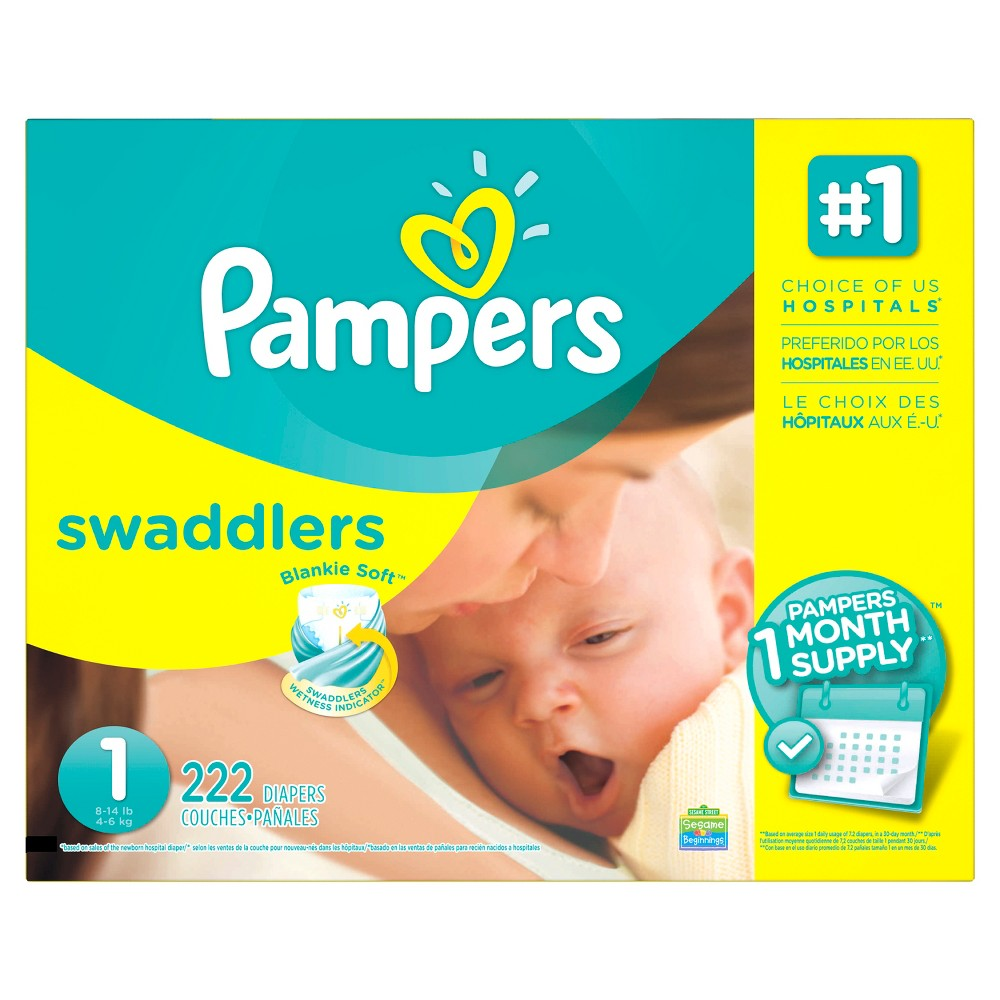 Pampers Swaddlers Diapers - Size 1 (222ct)