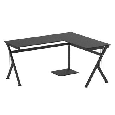 HomCom 61 Inch Modern Reversible L-Shaped Home Office Desk Computer Laptop Table Gaming Desk Corner Workstation with CPU Stand Space Saving Black