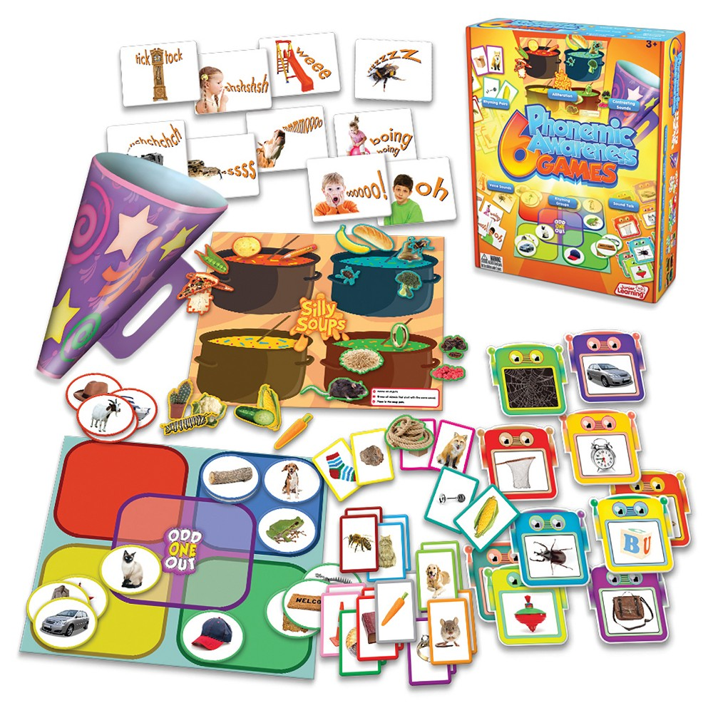 Junior Learning 6 Phonemic Awareness Games Learning Set This set of educational games and activities is designed for introducing children to phonemic awareness. Children will love playing and manipulating sounds within words to win each game. After mastering these games, children will be ready to progress to 6 Letter Sound Games. Contains: 2 board games, 1 megaphone, sound cards and rhyming cards.