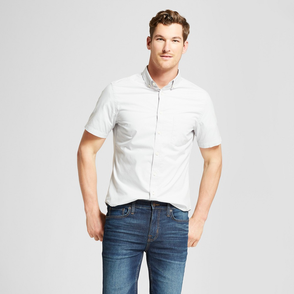 Men's Slim Fit Short Sleeve Button-Down Shirt - Goodfellow & Co Silver Foil 2XL