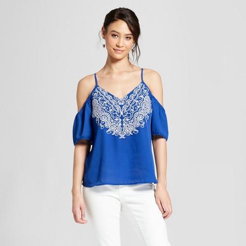 530d3014571 Women s Short Sleeve Cold Shoulder Top - Xhilaration™ Blue   Target