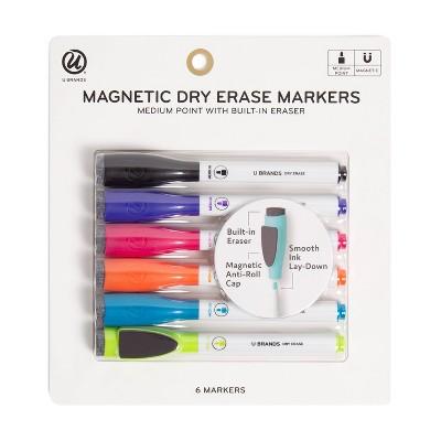 U Brands 6ct Magnetic Dry Erase Markers with Eraser Cap
