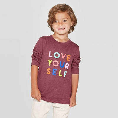 Toddler Boys' Long Sleeve Love Yourself Graphic T- Shirt - Cat & Jack™ Berry Maroon 4T