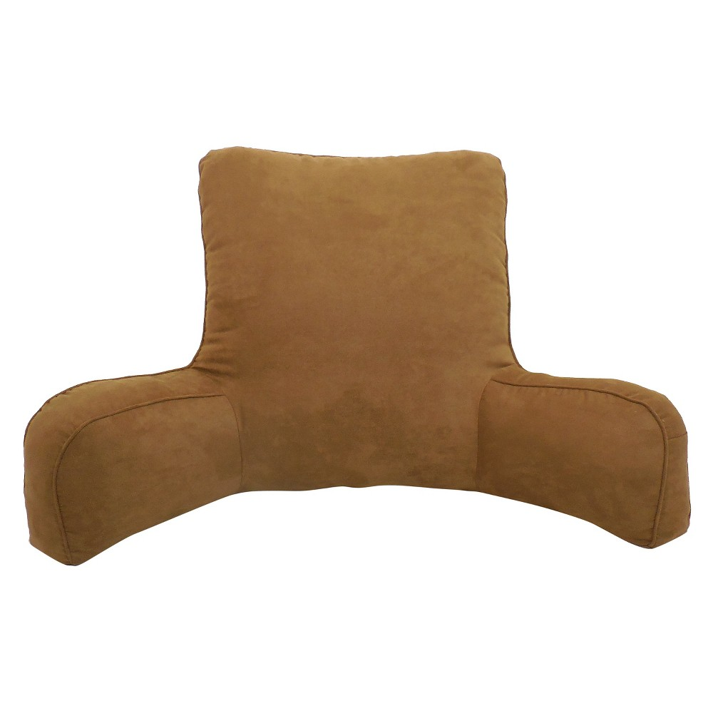 Image of Brown Suede Solid Color Oversized Bed Rest Lounger Support Pillow - Elements By Arlee