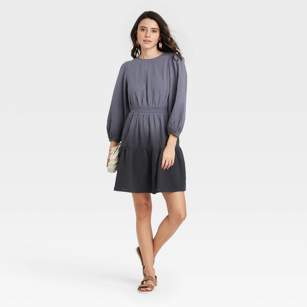 Women 39 S Tie Dye Long Sleeve Tiered Dress Universal Thread 8482 Gray M