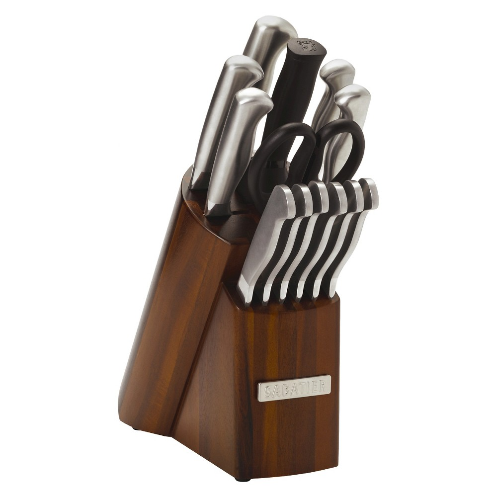Image of Sabatier 14 Piece Stainless Steel Acacia Wood Knife Block Set with Hollow Handles, Silver Brown