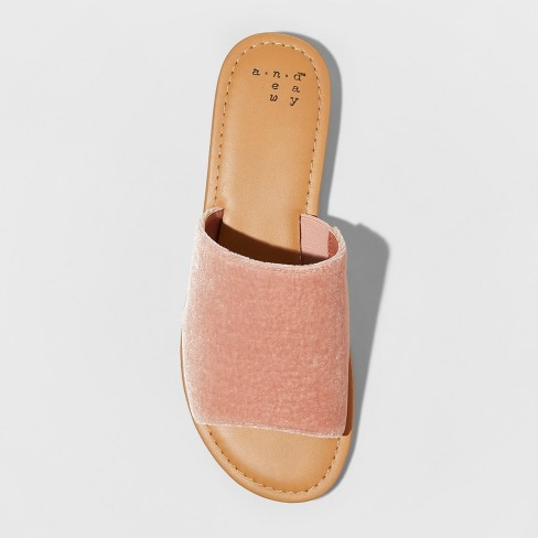 77ea3dc56a7 Women s Dorathea Velvet Slide Sandals - A New Day™ Blush 6   Target