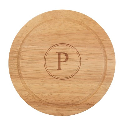Cathy's Concepts Monogram Acacia Wood 5pc Serving Tray with Tool Set P