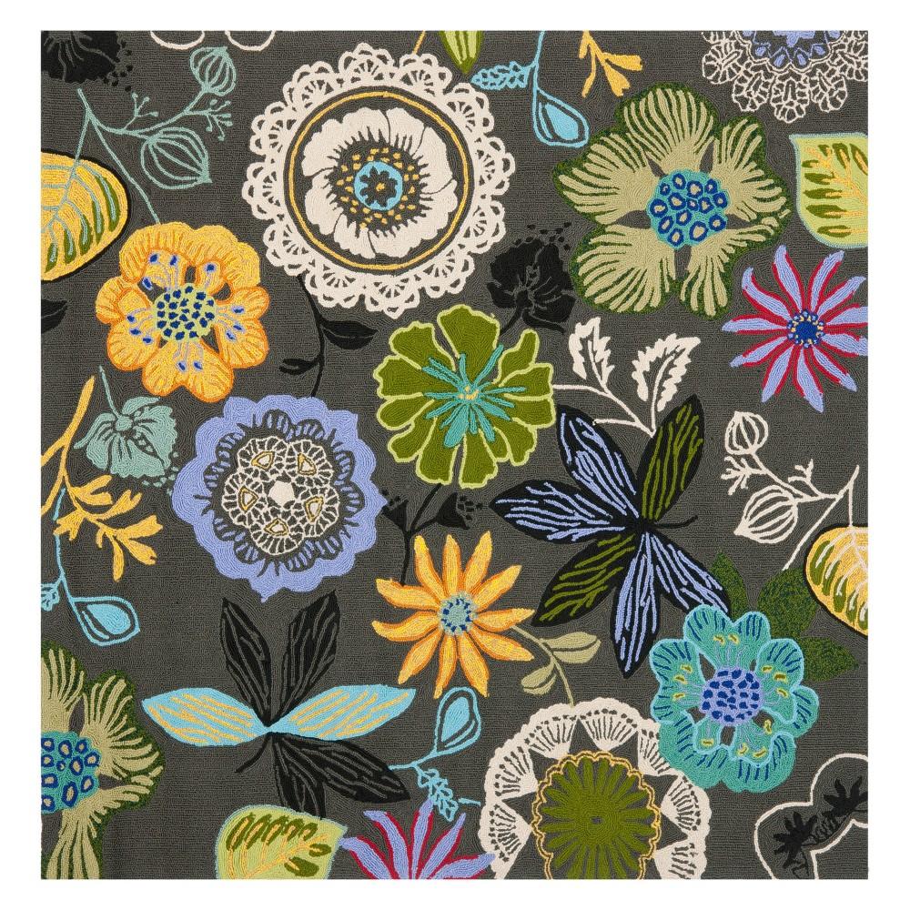 8'X8' Floral Square Area Rug Gray - Safavieh, Gray/Multi-Colored