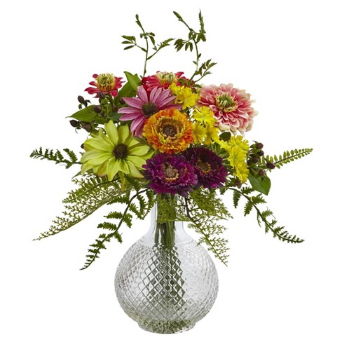 Mixed Flower in Glass Vase - Nearly Natural - image 1 of 2