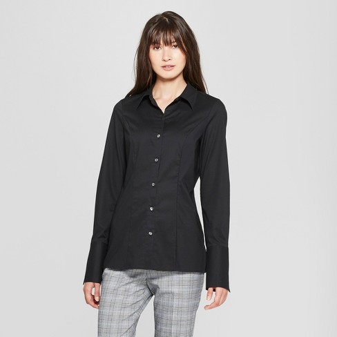 Women's Long Sleeve Fitted Button-Down Collared Shirt - Prologue™ - image 1 of 3