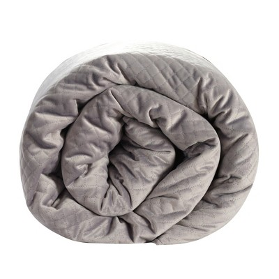 48 x74  15lb Quilted Weighted Blanket Gray - BlanQuil