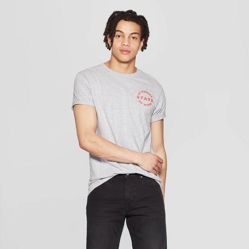 5777dc11 Men's Short Sleeve Crewneck Texas State of Mind Graphic T-Shirt - Awake Gray