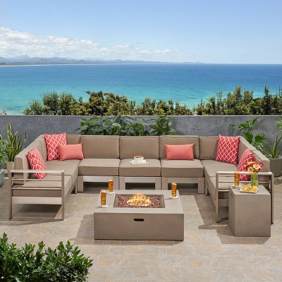Cape Coral 9pc Aluminum UShaped Sectional and Fire Pit Set  Khaki/Light Gray - Christopher Knight Home