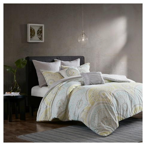 Yellow Leyla 100% Cotton Printed 7pcs Duvet Cover Set - image 1 of 7
