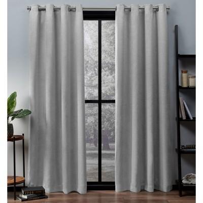 "Set of 2 63""x52"" Oxford Textured Sateen Thermal Room Darkening Grommet Top Window Curtain Panel Silver - Exclusive Home"